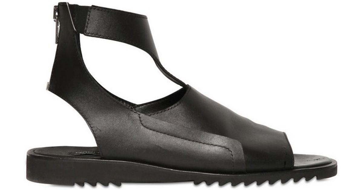 ef33da64e0 Lyst - Mugler Brushed Leather Sandals in Black for Men
