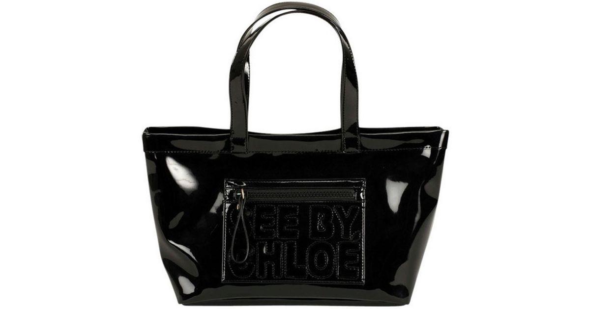 2f591eca745 Lyst - See By Chloé Medium Patent PVC Tote in Black