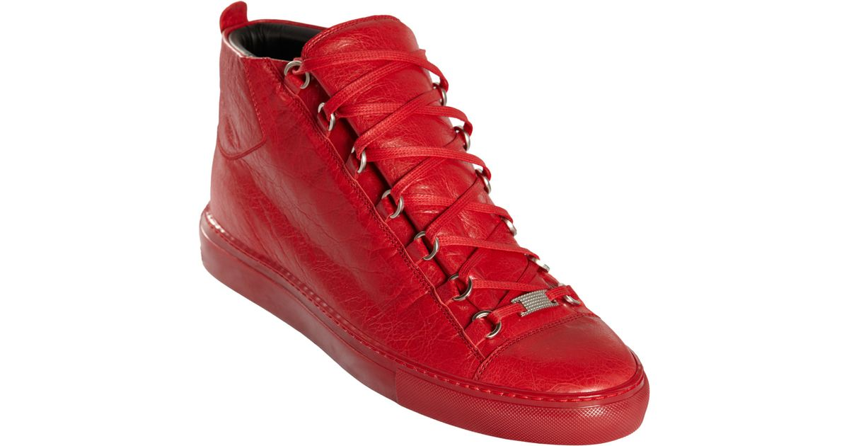 3bad07eb5afd3 Balenciaga Arena Leather High Top Sneakers in Red for Men - Lyst