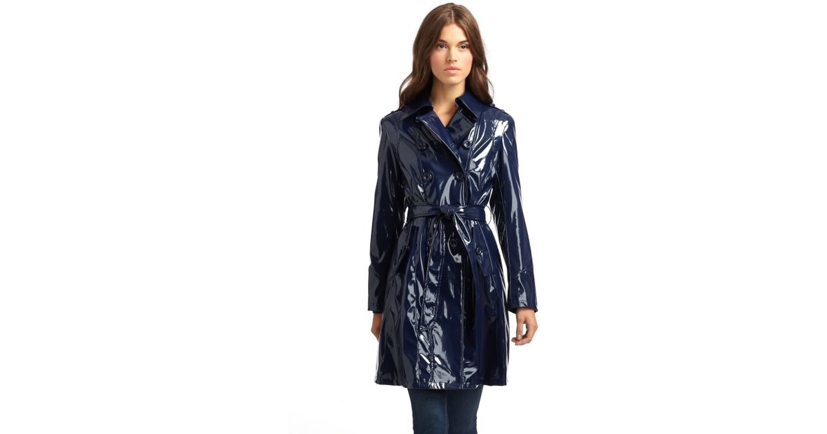 07bab94274d5 Lyst - Via Spiga Faux Patent Leather Trench Coat in Blue