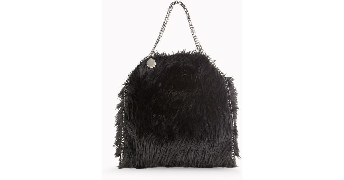 b8ca4358dc Stella Mccartney Faux Fur Falabella Small Tote in Black - Lyst