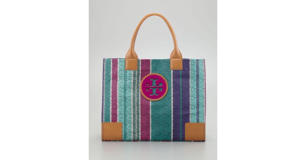 0bee69bd202e ... low cost lyst tory burch ella large striped tote bag fd0bf 4045e