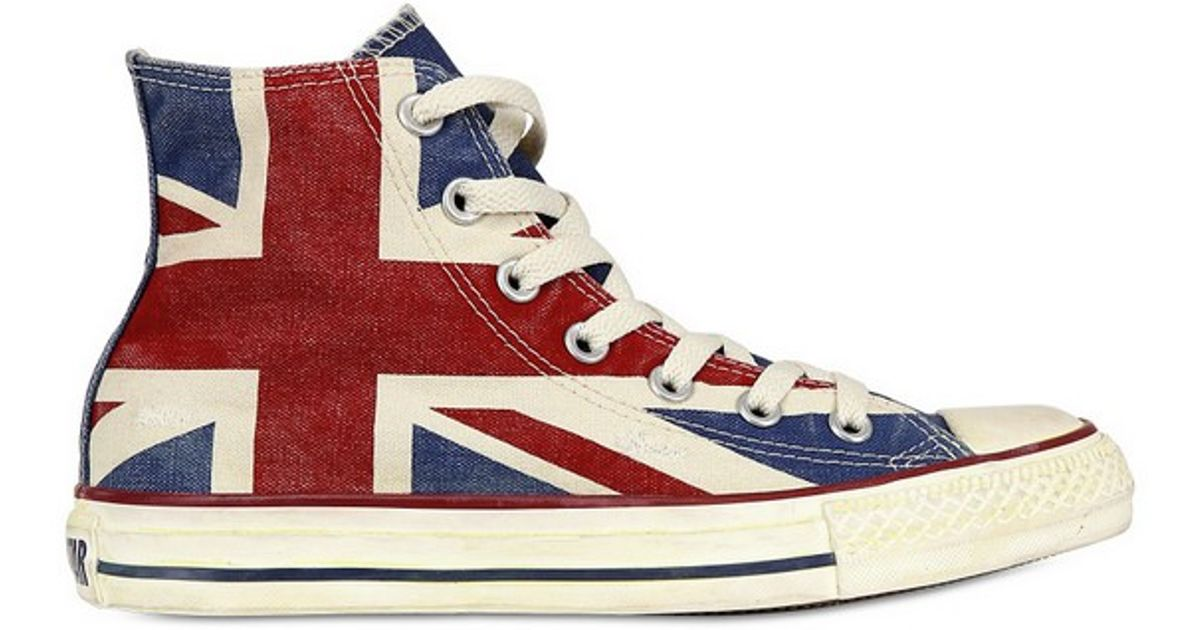 ... red white blue 1cl032 204b2 ba114  top quality lyst converse uk flag  distressed canvas sneakers b6f5c 01fb1 222dabc4f