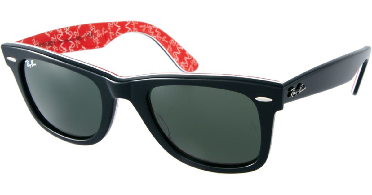 d42d1bb677f ... cheapest lyst ray ban wayfarer sunglasses with internal print in red  for men f23b6 4d615