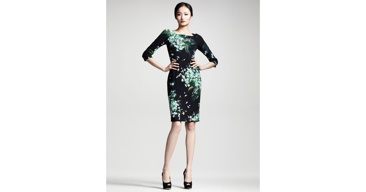 2ede789e4cc11f Dolce & Gabbana Lily Of The Valley Print Dress in Green - Lyst