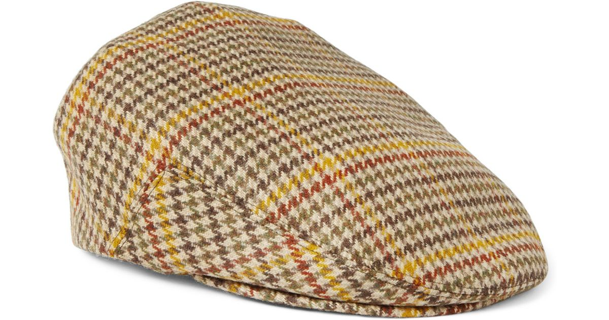 Lyst - Lock   Co. Houndstooth Cashmere Flat Cap in Natural for Men e8843a725ce