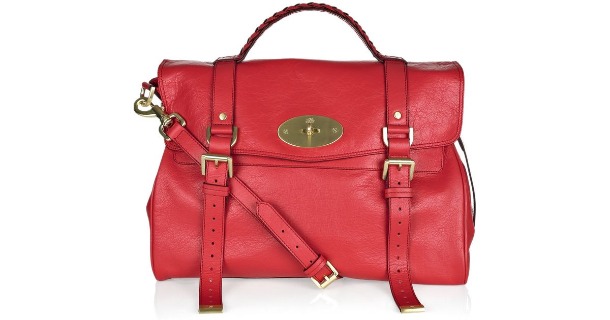 6643b8a55e9f ... new zealand lyst mulberry oversized alexa leather bag in red 0249c 0d0a1