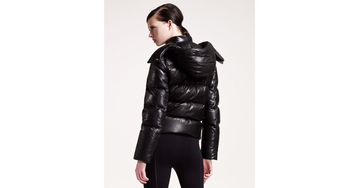 new high quality detailed look shades of Alexander Wang Black Leather Puffer Jacket