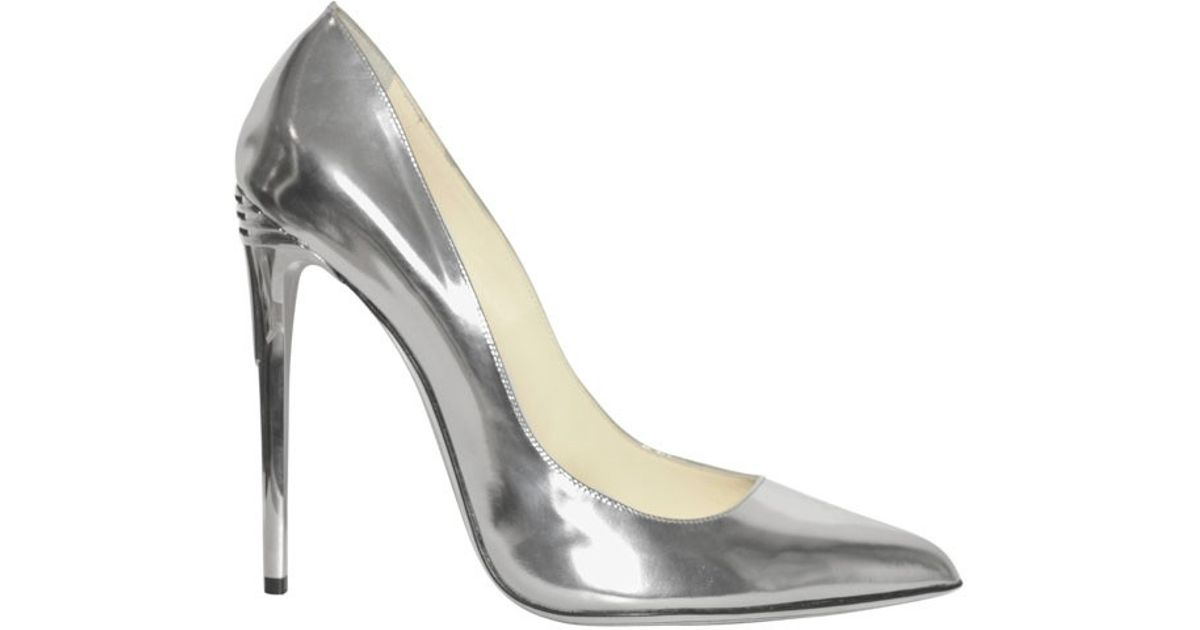Lyst - Balmain 100mm Silver Patent Leather Pumps in Metallic