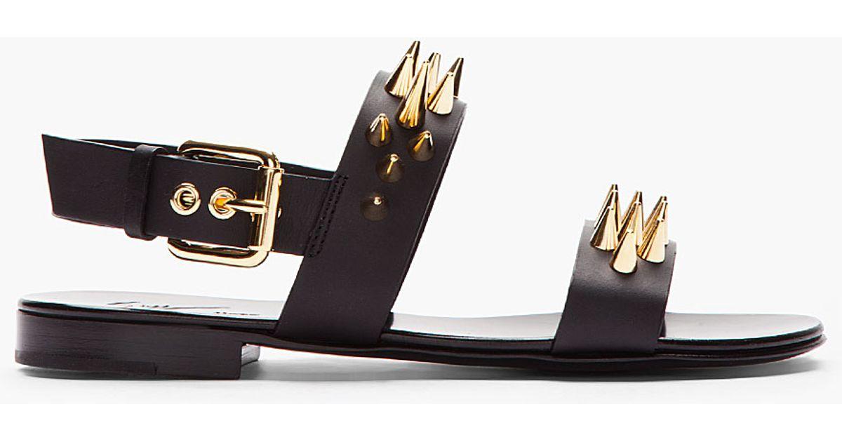 16969f3118cd9 Giuseppe Zanotti Black Leather and Gold Studded Zak 10 Sandals in Black for  Men - Lyst