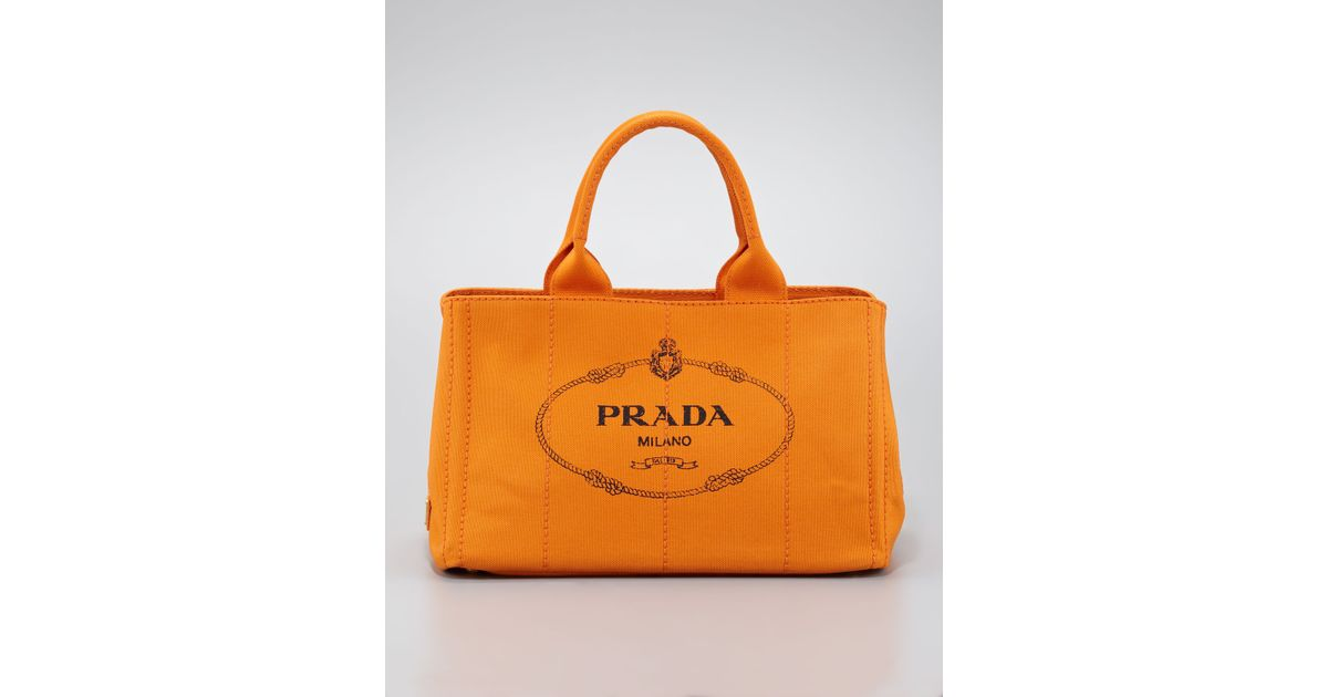 7acf7bc7b811 Prada Gardeners Small Tote Bag in Orange - Lyst