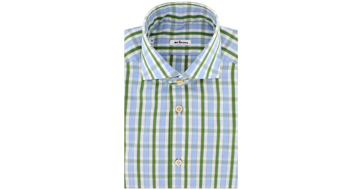 3a66ead7df Lyst - Kiton Light Blue and Light Green Plaid Dress Shirt in Green for Men