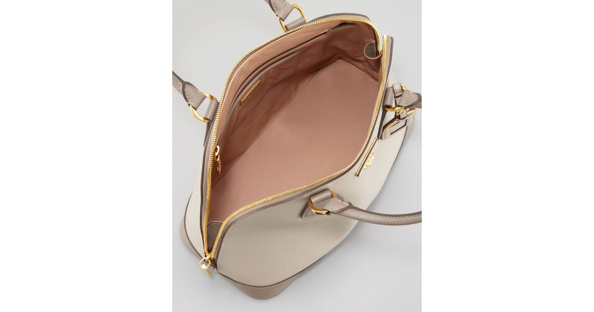 b1d1823c031a Prada Saffiano Bicolor Dome Bag in Natural - Lyst