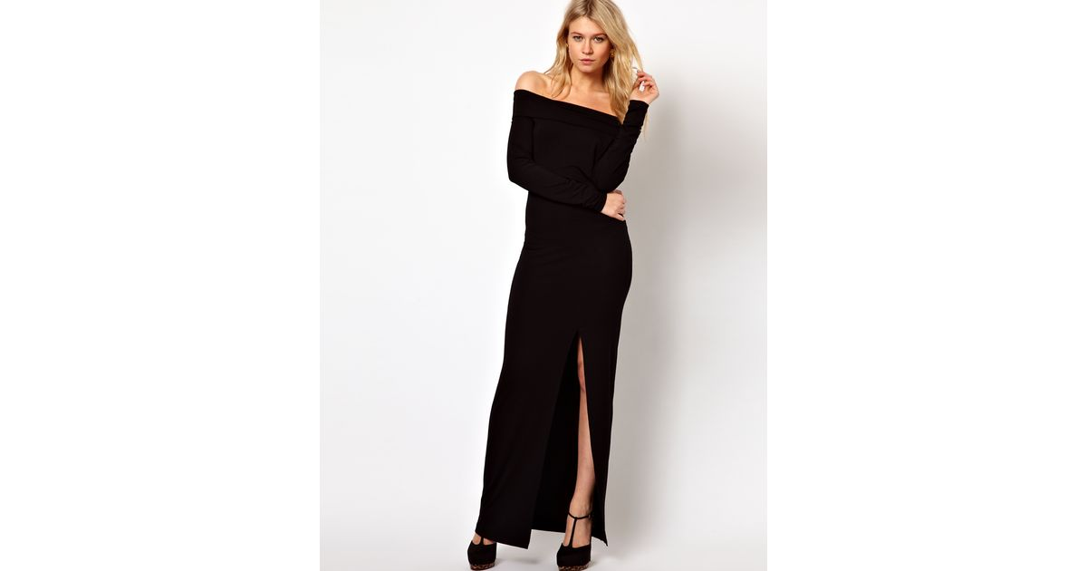 6a7c3b558cfe Lyst - Love Off Shoulder Maxi Dress in Jersey with Thigh Split in Black