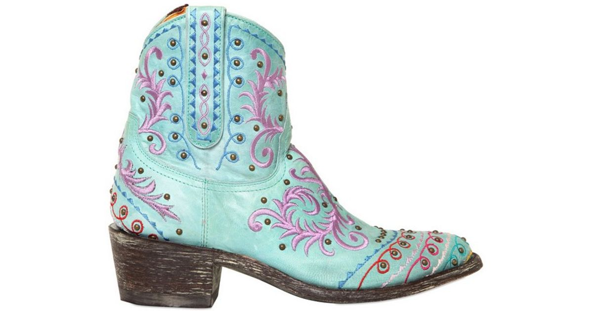 c637964df2c17 Mexicana 50mm Embroidery Studs Leather Low Boots in Blue - Lyst
