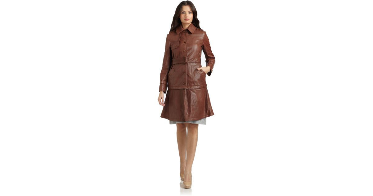 Lyst - Philosophy Di Alberta Ferretti Belted Leather Convertible Jacket in  Brown dbacabc53