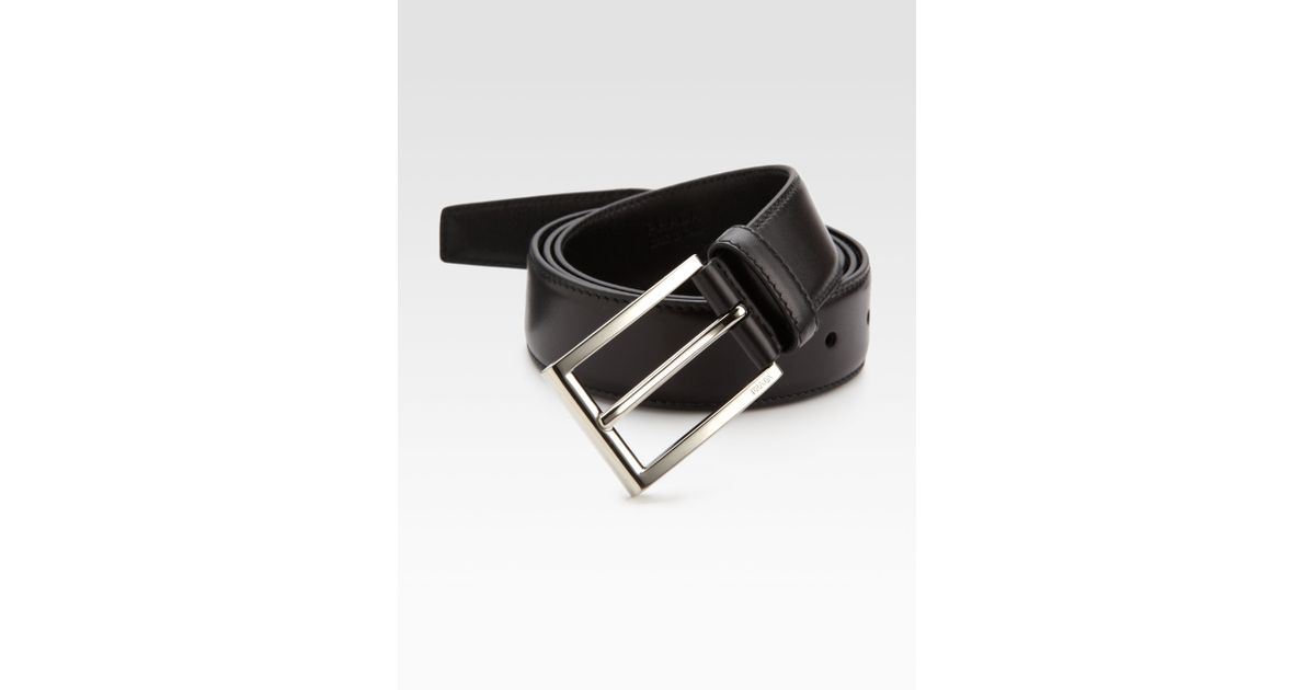Prada Leather Belt in Black for Men | Lyst