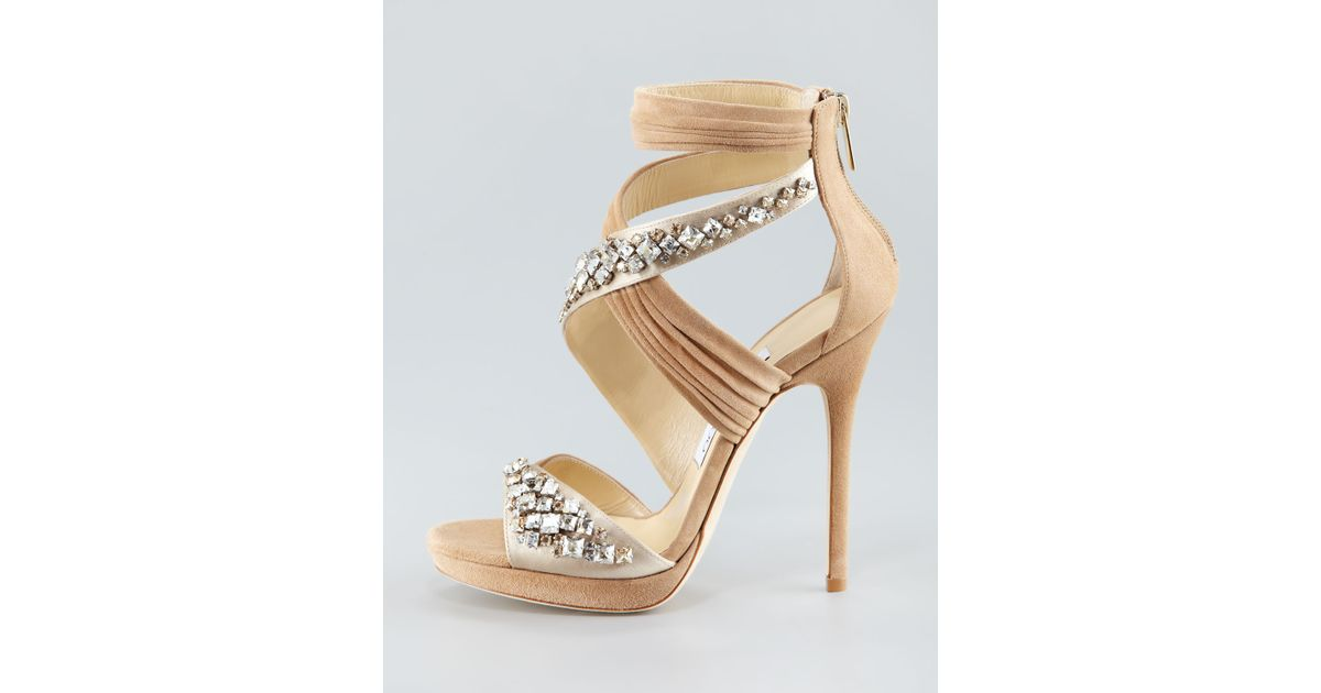 05831094373 Lyst - Jimmy Choo Crisscross Platform Sandal in Natural