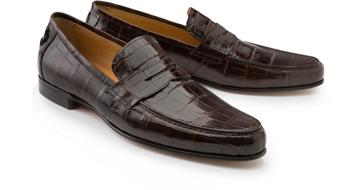 Brooks Brothers Alligator Penny Loafers In Brown For Men
