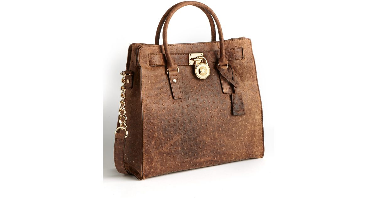 4044ec3d3a3 Lyst - Michael Michael Kors Hamilton Large Leather Tote Bag in Brown