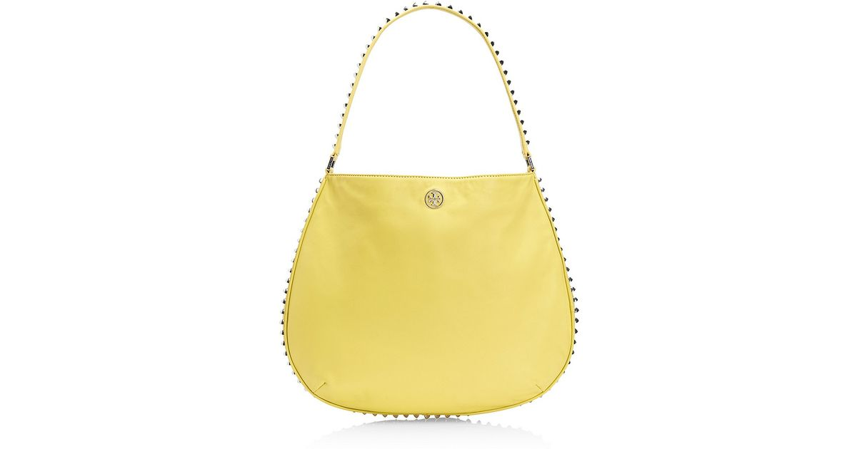 2d648462bedc Lyst - Tory Burch Pyramid Stud Hobo in Yellow