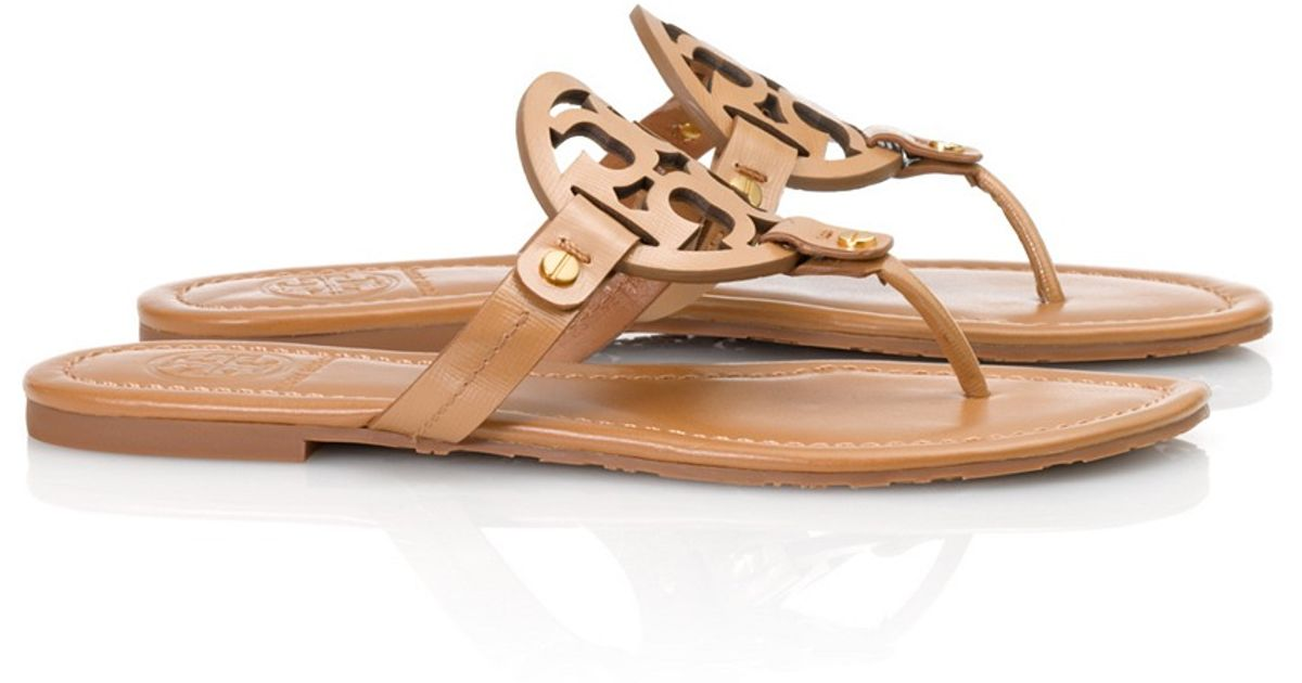 45e57ce68f37b Lyst - Tory Burch Patent Leather Miller Sandal in Brown