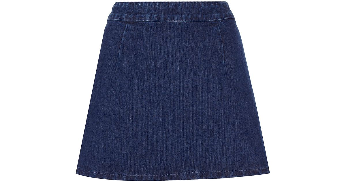 Topshop Moto Indigo Aline Denim Skirt in Blue | Lyst