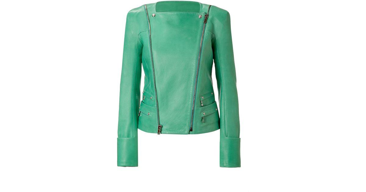 f7e8da83 Lyst - Balmain Mint Lambskin Biker Jacket in Green