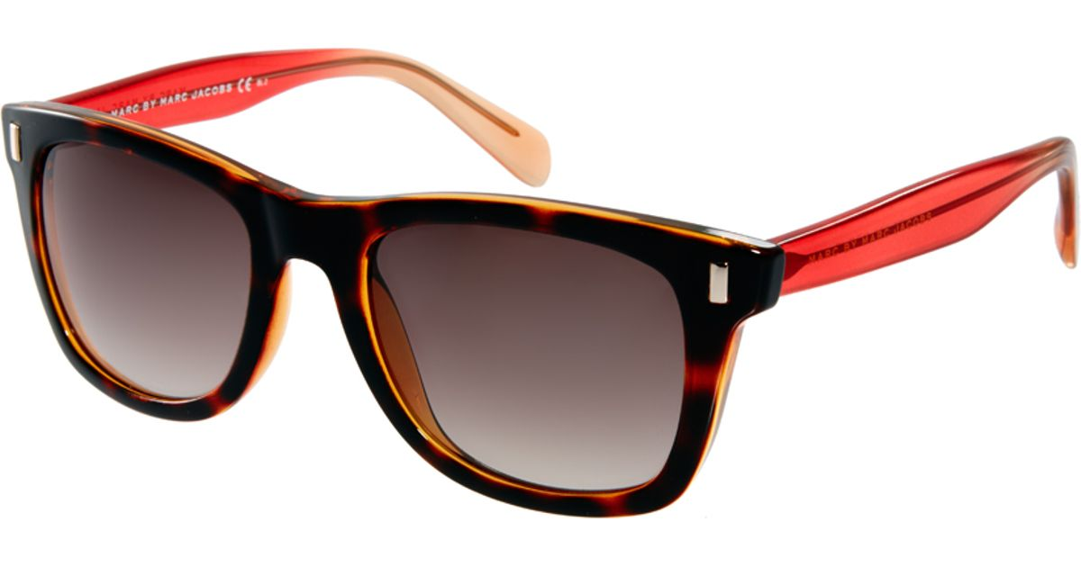 red wayfarer sunglasses uqw9  Marc by marc jacobs Red and Tortoise Shell Wayfarer Sunglasses in Red  Lyst