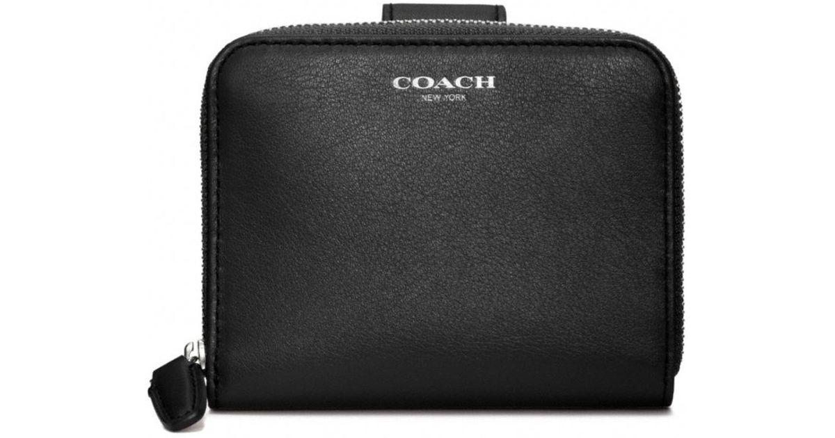 acab5d77452e Lyst - COACH Legacy Leather Medium Zip Around Wallet in Black