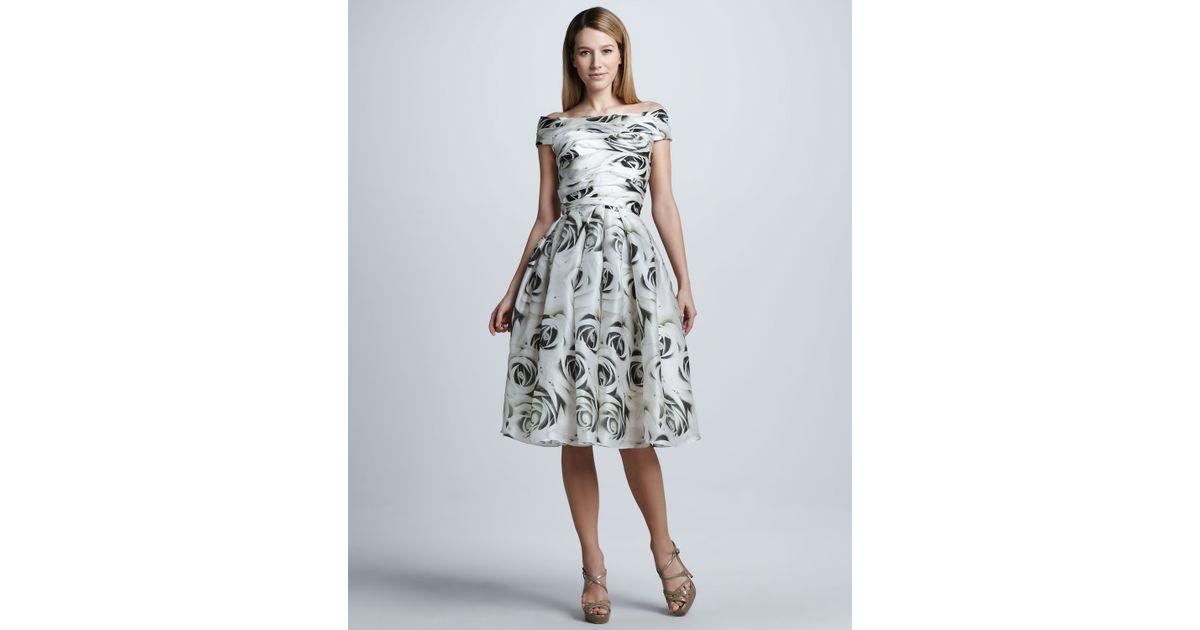 Naeem khan Full skirt Rose print Cocktail Dress in White | Lyst