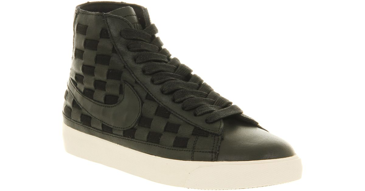 finest selection bcab6 476da Men s Nike Blazer Lyst - Nike Blazer Mid Vintage Leather Black Woven Leather  in Black for Men ...