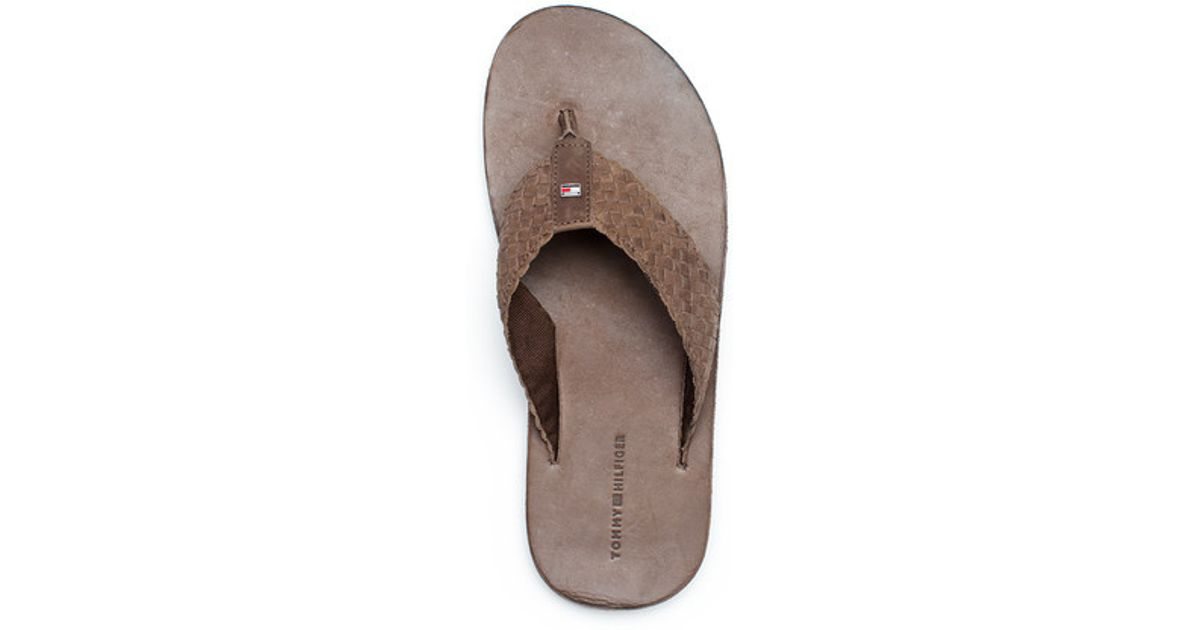 dee88545f67ffc Tommy Hilfiger Terence Leather Flipflop in Brown for Men - Lyst