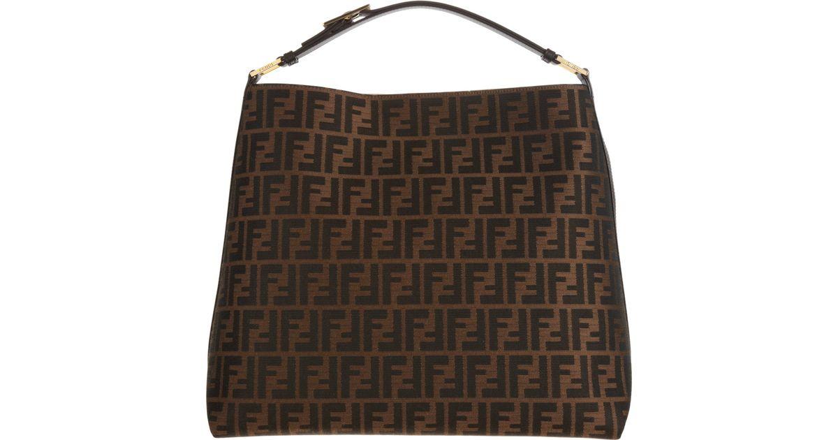 9a1cc400f19e Fendi Zucca Hobo Bag in Brown - Lyst