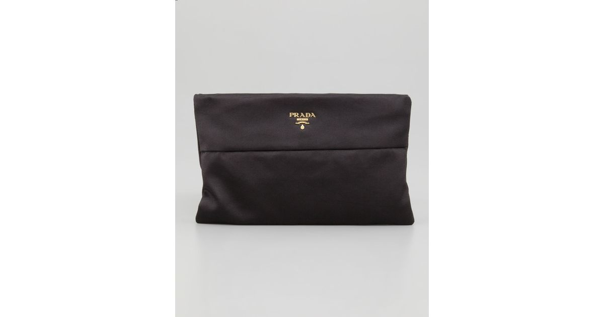 9c8ea04c6ff1 ... coupon code for prada satin clutch bag in black lyst dc889 70f95