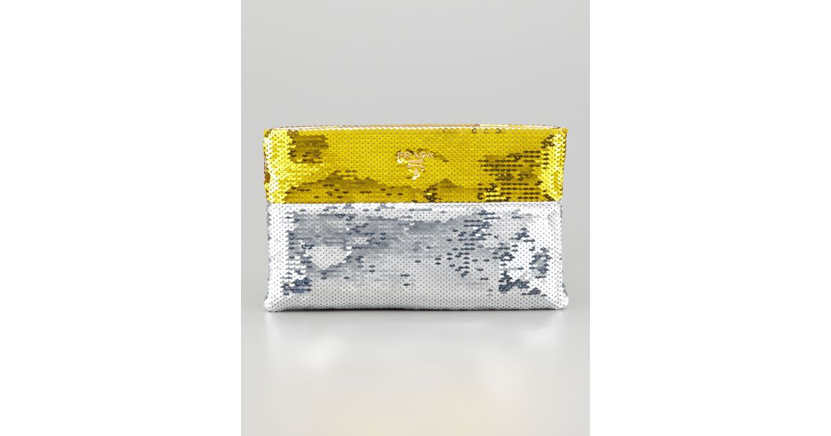 Prada Sequined Pouch Clutch in Silver (silver/gold) | Lyst
