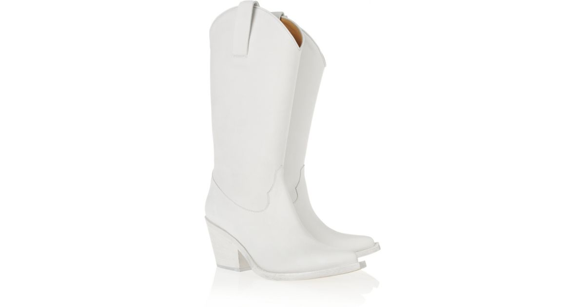 11404b29e67 Lyst - Acne Studios Brush Suede Cowboy Boots in White