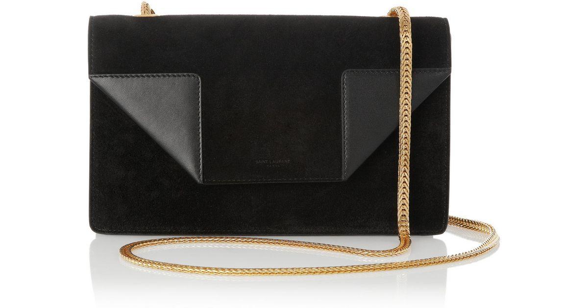 838516a292b Lyst - Saint Laurent Betty Mini Chain Suede Shoulder Bag in Black