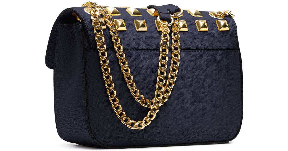 da76677b7801 ... cheapest lyst michael kors small sloan studded shoulder bag in blue  a7496 bae64