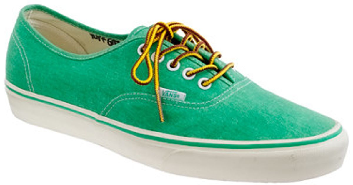 303fa72b8d6a Lyst - J.Crew Vans Washed Canvas Authentic Sneakers in Green for Men
