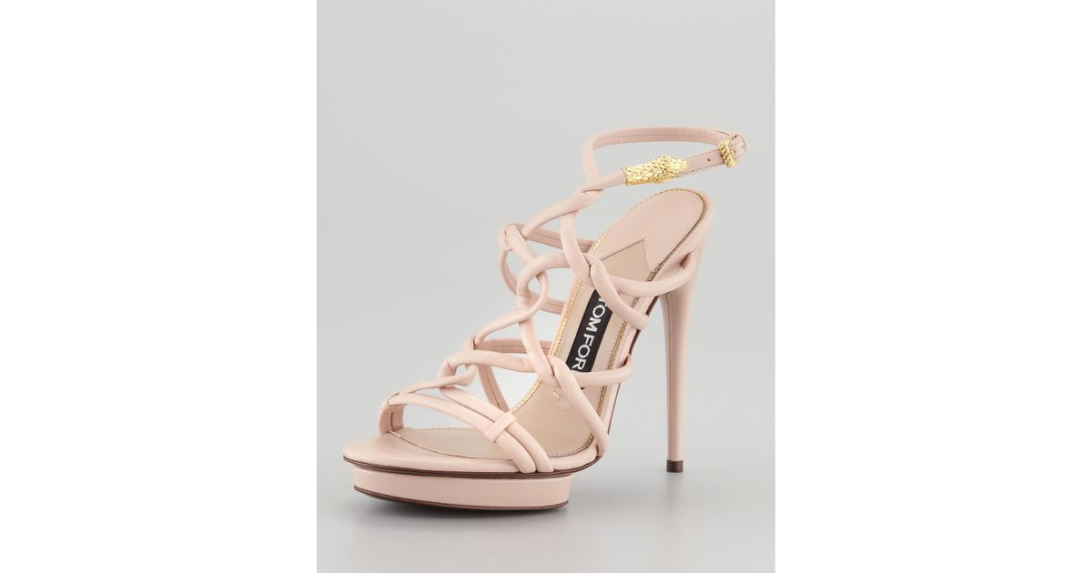 Lyst - Tom ford Platform Sandal with Snake Head Buckle in Pink