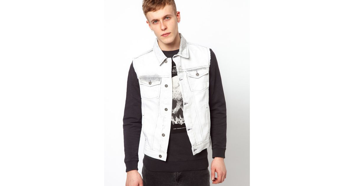 1492bf75eb Lyst - ASOS Sleeveless Denim Jacket with Bleach Wash in White for Men