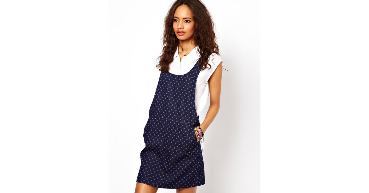 3f9288020b5 Lyst - ASOS Collection Denim Pinafore Dress in Spot Print in Blue