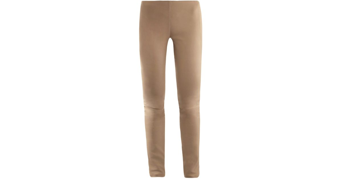 Drome Leather Leggings in Natural | Lyst