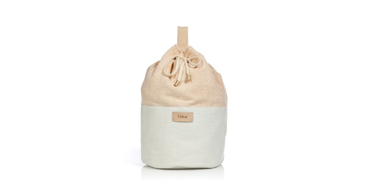 Chloé Creampowder Terrycloth Cottonblend Beach Bag in Natural | Lyst