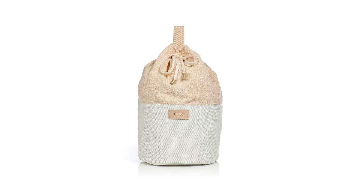 Chloé Creampowder Terrycloth Cottonblend Beach Bag in Natural | Lyst