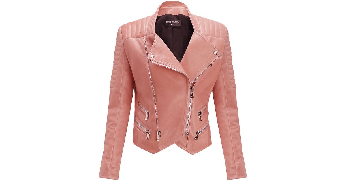 29954dc7 Balmain Quilted Leather Biker Jacket in Pink - Lyst
