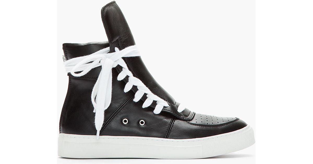Lyst - Kris Van Assche Black White Leather Paneled Sneakers in Black for Men 49e5b472b