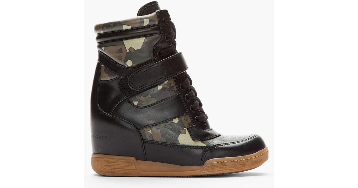 e4727e961f1b Lyst - Marc By Marc Jacobs Camo Print Leather Sneaker Wedges in Black