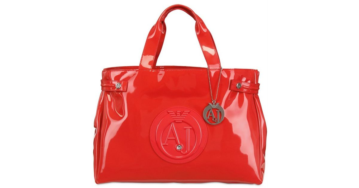 Armani Jeans Large Embossed Logo Patent Vinyl Tote in Pink - Lyst ed85dd61c5d92